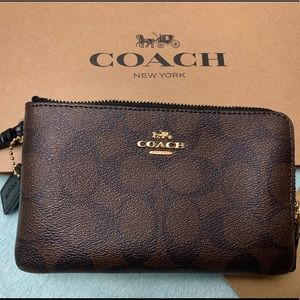 Coach Original double zipper wristlet